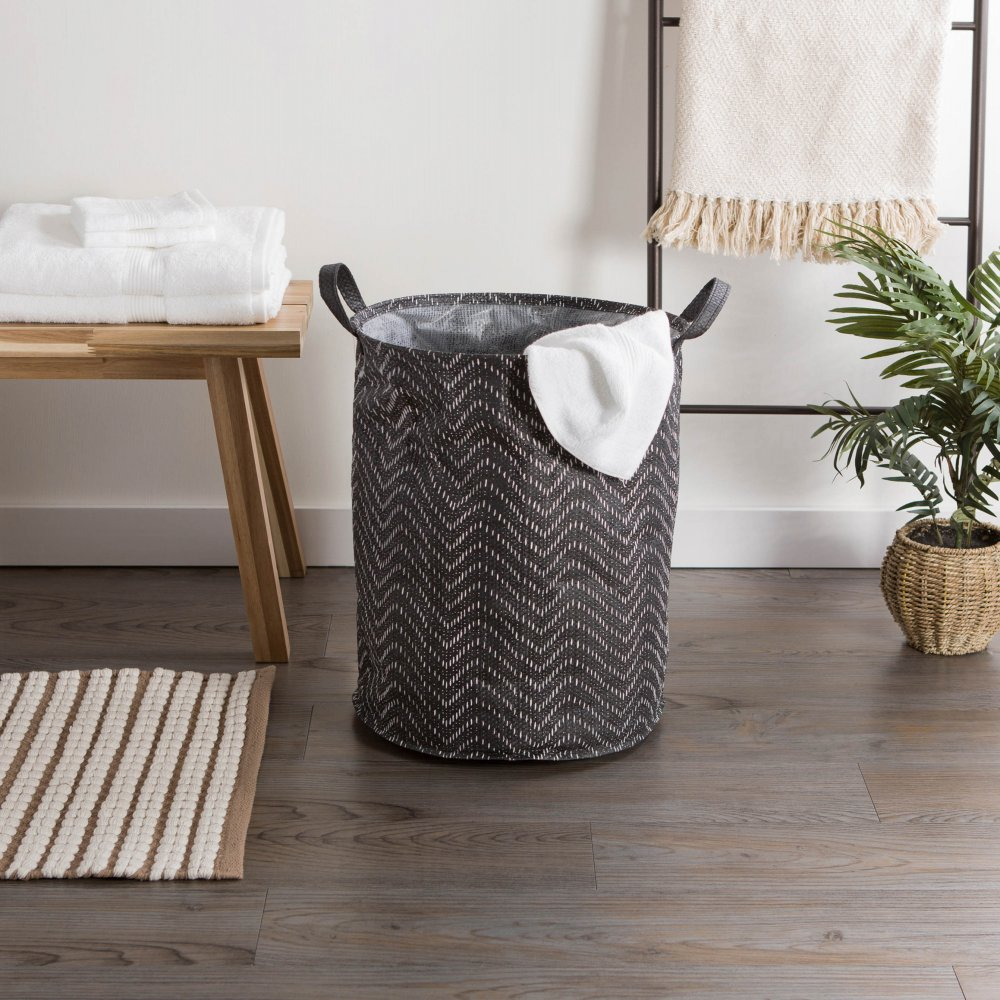 Pe Coated Woven Paper Laundry Hamper Tribal Chevron Black/wh