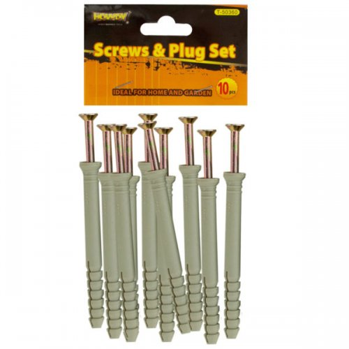 "4"" SCREWS with Ribbed Plastic Anchors Set"