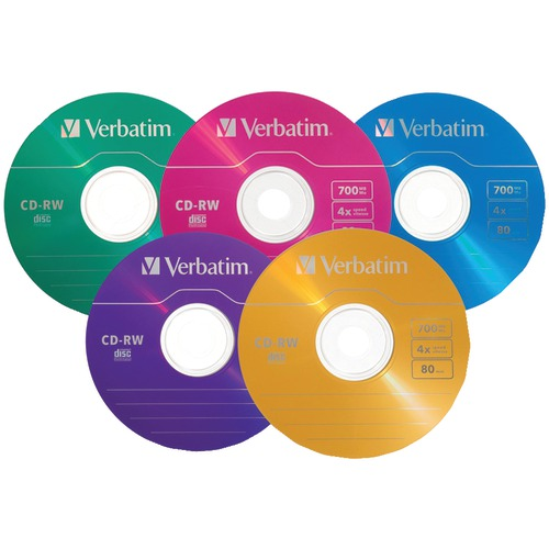 Verbatim 80-minute and 700mb 4x CD-rws, Multicolored 20 Pk With Slim Cases
