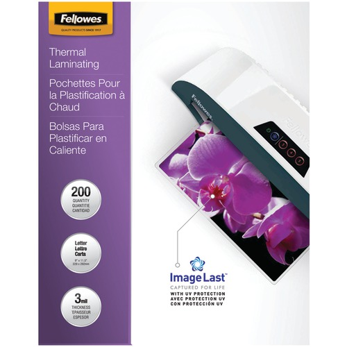 Fellowes Imagelast Laminating Pouches, Letter, 200pk (3mil)