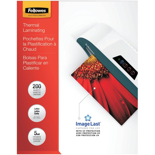 Fellowes Imagelast Laminating Pouches, Letter, 200pk (5mil)